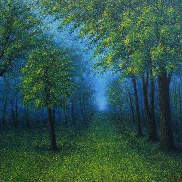 The-Season-of-Love—MORNING-GREEN—Narate-Kathong,-150-x-150-cm,-oil-_-acrylic-on-canvas,-2012